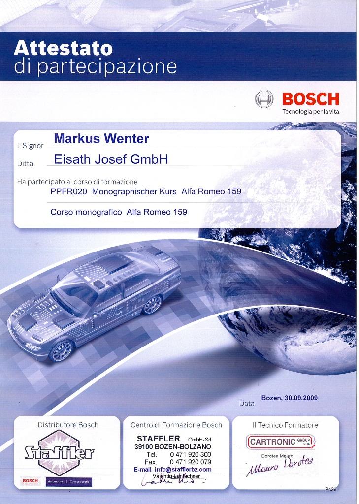 Attestato di partecipazione corso Bosch