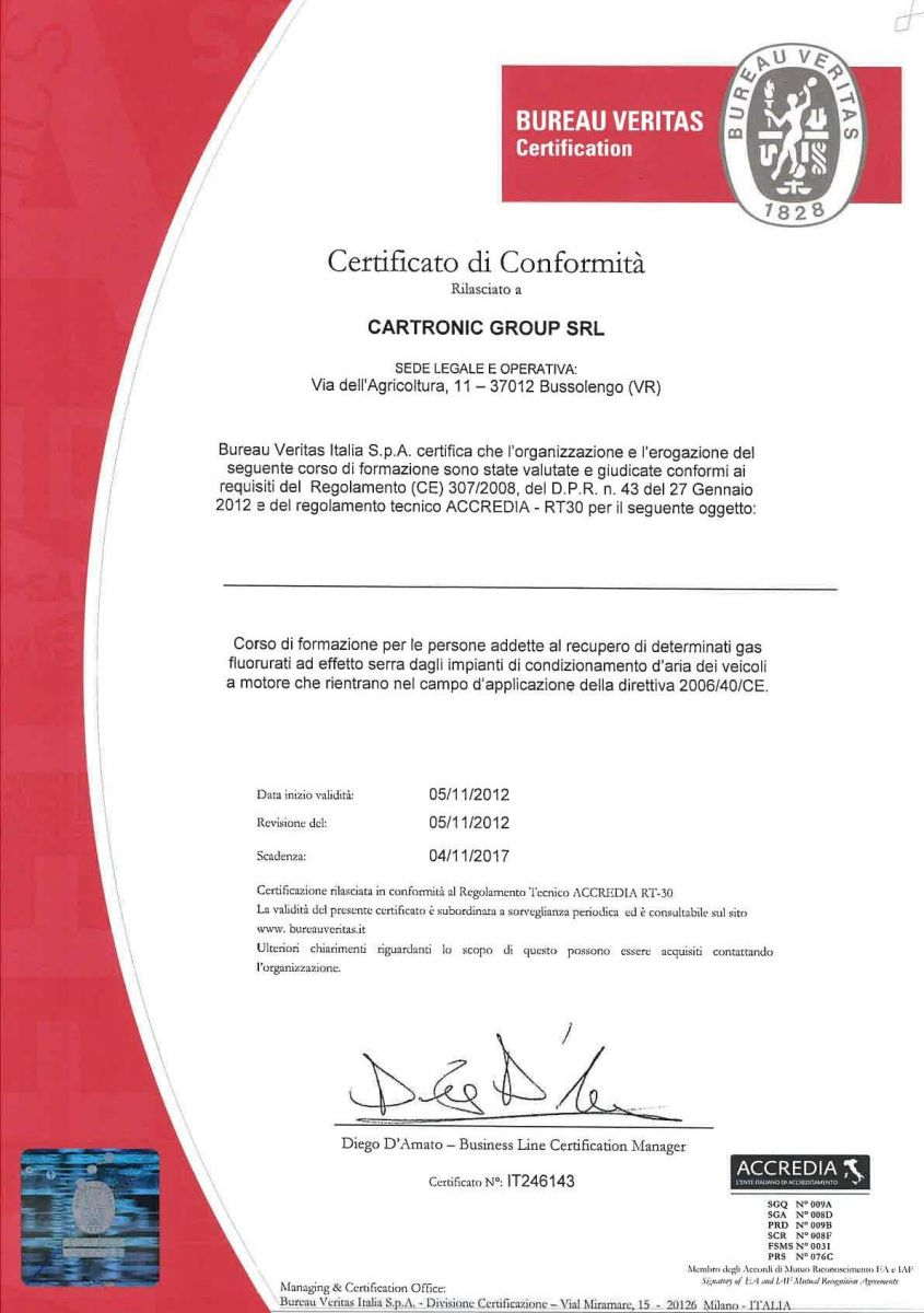 BUREAU VERITAS Certificato di Conformità
